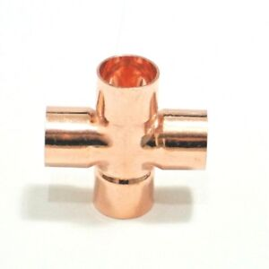 15mm / 22mm Copper End Feed Cross 4 Way Pipe Fitting Connector UK stock