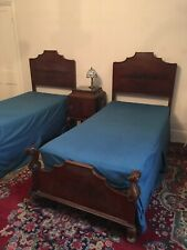 More details for 7 piece antique/vintage solid wood twin 2 x  single bed bedroom suite