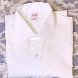 Brooks Brothers Button Down Shirt Neck 17 Custom Tailored Cotton Solid White