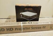 """Del'Arte DA-1000 4k 4500 lumens smart projector with 72"""" 3D HD Projector Screen"""