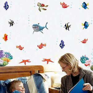 Wall Sticker Finding Nemo Under Sea Shark Fish 3D Cartoon Waterproof Vinyl Decal