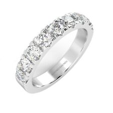 Bargain.! 3mm F/VS 0.75 Ct Round Diamond Half Eternity Ring Hallmarked Platinum