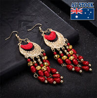 Bohemia Vintage Women Gold Red beads tassel pendant retro Drop Earrings