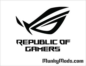 Asus ROG with Text Computer PC Case Window Applique Vinyl Decal (Color Choices)