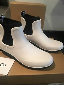 UGG Chevonne white//bl Women's Waterproof Slip On Chelsea Rainboots 1110650 sz 8