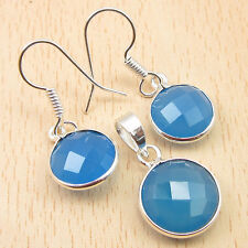 Cut Blue Chalcedony Earrings & Pendant Matching Jewelry Set, 925 Silver Plated