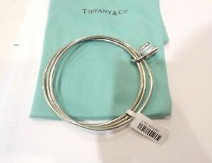 Tiffany & Co. Triple 1837 Lock Sterling Silver Bangle Bracelet - Good Condition