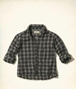 Hollister Womens Burnout Button-front Shirt, Black - BNWT!