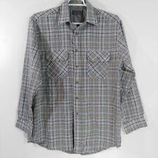 David Taylor Mens Size LT Plaid Gray Cotton Flannel Button Front Shirt