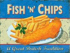 Fish & Chips, Vintage Shop, Pub Bar Kitchen Cafe Old, Food, Small Metal/Tin Sign