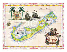 "19.5 x 25"" Bermuda Vintage Look Map Poster Printed on Parchment Paper"