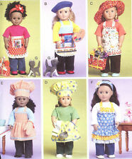PATTERN To Sew 18inch doll Aprons chef hat beret oven mitt clothes McCalls 6451