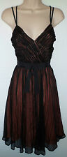 FRENCH CONNECTION black silk dress with orange lining UK 6 US 4 EU 34 was £145