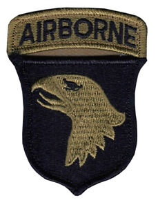 101st Airborne OCP Patch And Airborne Tab Sewn Together with Hook Fastener