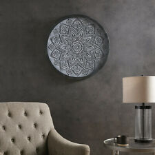 Madison Park Grey Medallion Grey Carved Wall Panel