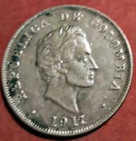 Colombia 50 Centavos 1917 plata @ Bella @