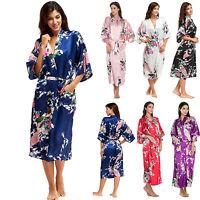 FLORAL SATIN ROBE Kimono Dressing Gown Women Wedding Bridal Bridesmaid Nightie