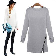 Autumn Winter Women Long Sleeve Zip T Shirt Casual Dress Pullover Tee Top Blouse