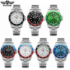 Winner Mens Automatic Mechanical Stainless Steel Calendar Military Wristwatch AU