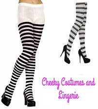Black and White Striped Tights Wally Elf Alice One Size 8-14 approx