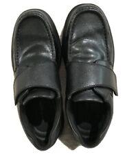 Hush Puppies Gil Men's Black Leather Easy Closure Moc Toe Comfort Shoes Size 8.5