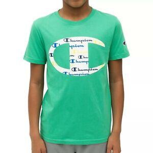 Champion Boys' Short-Sleeve C Logo With Script T-Shirt Tee (Green Myth, XS, 6-7)
