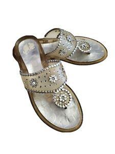 Stuart Weitzman Clear Jelly Jeweled Beaded Thong Sandal Size 9