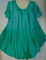 Womens Blouse Top Green Short Sleeves Sequins Long Plus Size Fits Size 1X 2X