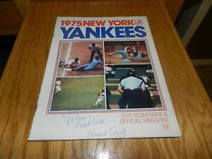 YANKEES 1975 SIGNED HOWARD COSELL & MRS BABE RUTH PROGRAM !!!!