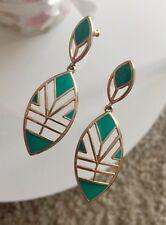 Ohrringe, häbgend mit Steckerverschluss, türkis gold Modeschmuck six