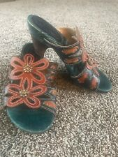 Spring Step Womens Sandals Pumps Slip Ons Leather Brown Green Flower Sz 36 5.5 6