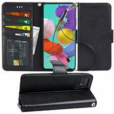 Samsung Galaxy A51 Wallet Case Leather Folio Stand Cover Magnetic Closure Black