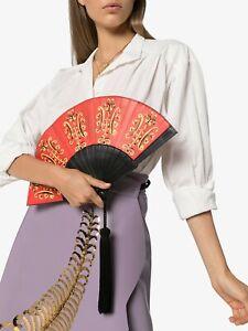 SS20 Moschino Couture Jeremy Scott Fan Leather Clutch Bag w/silky tassel & Gold