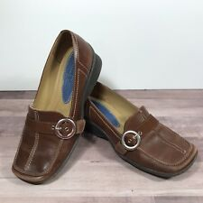 Indigo by Clarks Brown Leather Slip On Loafers Buckle  Sz 7M