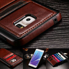 Leather Wallet Card Slot TPU Bumper Case For Samsung Galaxy S9 Plus S8 S7 Note 8