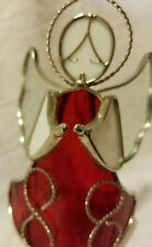 """Red Stained Glass Angel Candle Holder Luminaries 6"""" Tall 3"""" Wide"""