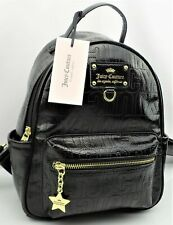 Juicy Couture EVER AFTER BACKPACK Black Patent Faux Leather $89 NEW