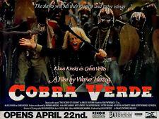 COBRA VERDE 1987 Klaus Kinski WERNER HERZOG UK QUAD POSTER