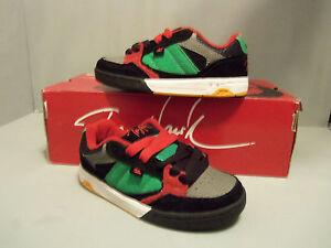 Tony Hawk Boy's Rasta Black Skate Shoes NIB Rare black and red laces Sz 5 Left!
