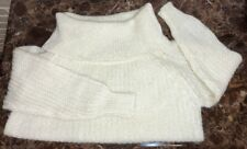 Avon Fashions White Wool Mohair Cowl Neck Sweater size L Warm & Fuzzy