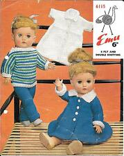 Emu 6115 Vintage Knitting Pattern 4 ply DK Dolls Clothes