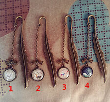 4pcs GIFT Vintage Feather Bookmark Charm Pendant Stationery Label Book Holder-XL