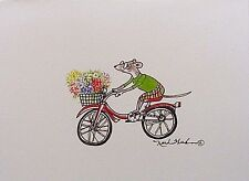 Art Greeting Card Drawing Picture Flowers Bicycle Mouse Bike Ride Illustration