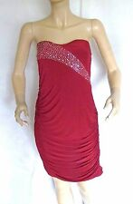 TG DARK RED STRAPLESS BODYCON BANDEAU STUDDED ART DECO TUNIC DRESS SIZE 10