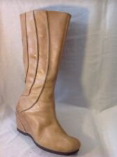 Hush Puppies Beige Mid Calf Leather Boots Size 8