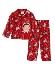 New The Elf On The Shelf Toddler & Boys Red Flannel Pajamas Size 4T