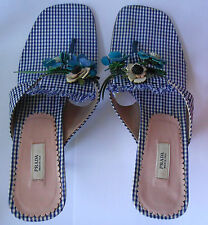 PRADA Vintage Blue Gingham Fabric Kitten Heel Slides Sandals Size 36