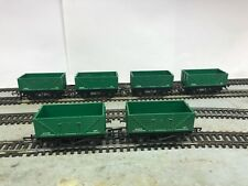 LOT 2 Hornby Triang R.010 x six (6) 4 wheel open wagon GREEN RN W1005 unboxed