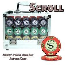 NEW 600 PC Scroll Ceramic 10 Gram Poker Chips Set with Acrylic Case Pick Chips