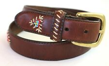 Woolrich M Native Style Beaded & Stitched Italian Full Grain Leather Belt NICE!